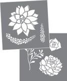 Stencil Succulents set av 2