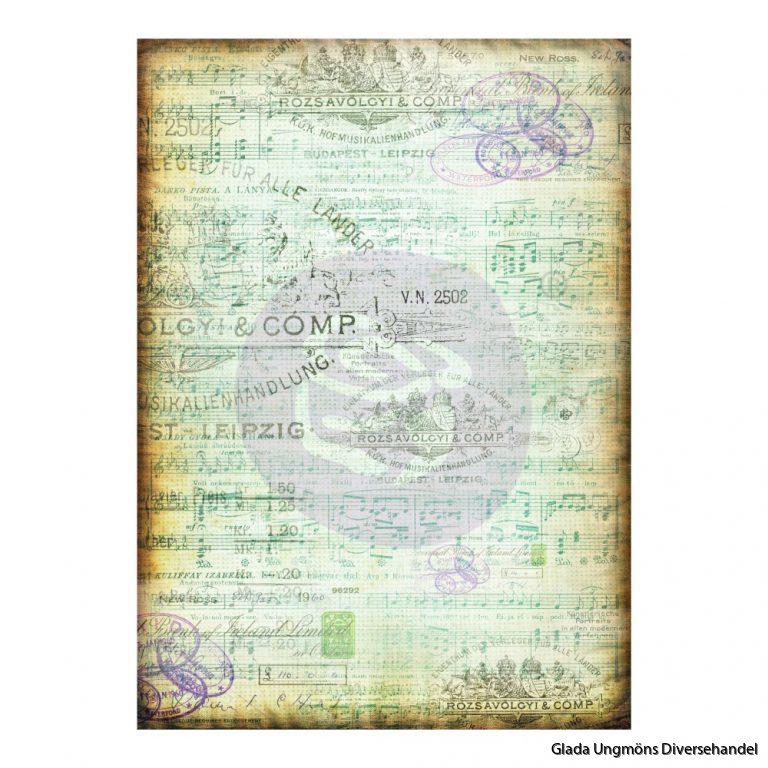 [655350967208] Finnabair Tissue Paper Musica - 6 sheets - size 70cm x 50cm