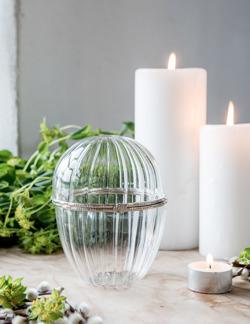 Maja, Glasägg med silverdekor, stort