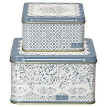 GreenGate Square box Jenny dusty blue (Set om 2)