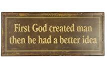 IB Laursen Metall skylt First God Created