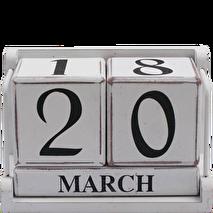 Block kalender i trä, vit