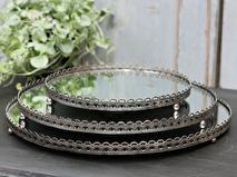 Chic Antique Spegelfat/ljusfat med spetskant i metall