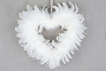 Hjärta av fjädrar (vit)