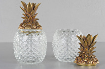 Ananas glasburk med guldfärgat lock