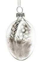 Glasägg med pärlhöns fjäder (att hänga)
