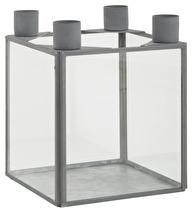 Ib Laursen Ljuslåda Zink, Fyra Ljus 15,5cm hög