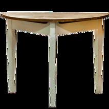 Miljögården Halvbord/månbord (vitt med trären skiva)