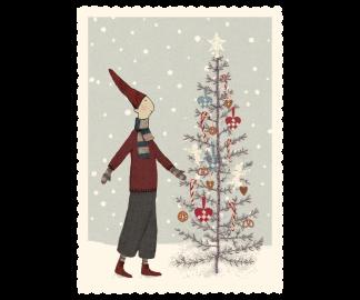 ..Kort - Maileg Julkort Pixy around the tree