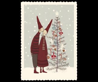 ..Kort - Maileg Julkort Pixy kiss by the christmas tree