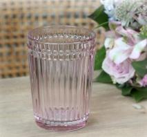 ..Tandborstmugg med pärlkant i rosa glas, Chic Antique