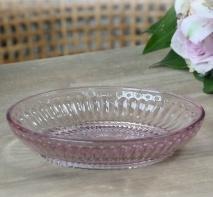 ..Tvålfat  med pärlkant i rosa glas, Chic Antique