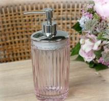 ..Tvålpump  med pärlkant i rosa glas, Chic Antique