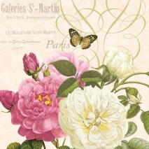 Ambiente Servetter - Pink and White Roses Cream