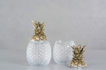 Ananas glasburk med champagnefärgat lock - Beställningsvara