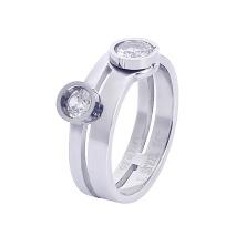 Gemini, Ring i rostfritt stål, 2 stenar