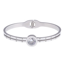 Gemini Armband i rostfritt stål, Rund sten