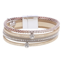 Gemini Armband med 4 remmar, Beige/guld