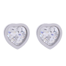 Gemini Örhängen i rostfritt stål, hjärta med vit sten