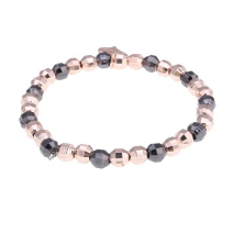 Gemini Armband elastiskt med pärlor i rosé/svart
