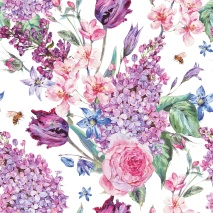 Ambiente Servetter - Flower Composition white