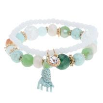Gemini Armband, elastiskt grönt med pärlor och tofs