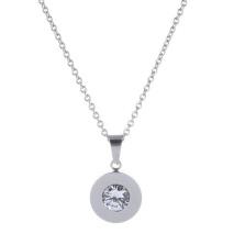 Gemini Halsband i rostfritt stål, Rund ring med vit sten
