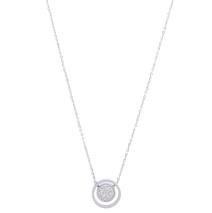 Gemini Halsband, Rostfritt stål - Cirkel fylld med små vita stenar