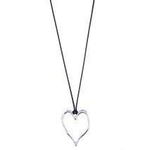 Gemini Halsband, Silverpläterat hjärta i svart bomullsband
