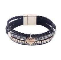 Gemini Armband med 4 remmar, Svart/guld