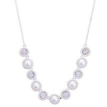Gemini Halsband, Silverpläterat med pärl/vita stenar (kort)