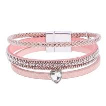 Gemini Armband med 3 remmar, rosa med hjärtformad strass.