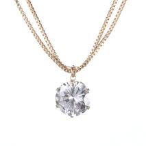 Gemini Halsband guldfärgad med dubbla kedjor, silver med vit sten