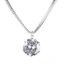 Gemini Halsband silverpläterad med dubbla kedjor, silver med vit sten