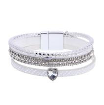 Gemini Armband med 3 remmar, vit med hjärtformad strass.