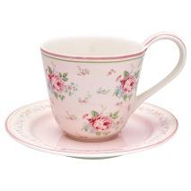 GreenGate kopp med fat, Marley pale pink - Förbeställning