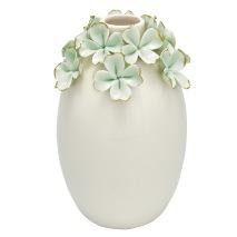 GreenGate Vas (stor), Ljusgröna blommor med guld