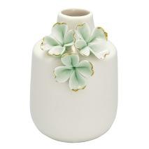 GreenGate Vas (liten), Ljusgröna blommor med guld