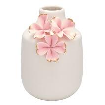 GreenGate Vas (liten), Ljusrosa blommor med guld