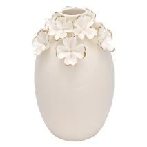 GreenGate Vas (stor), Vita blommor med guld - Förhandsbeställning