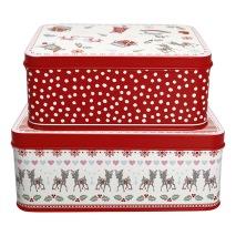GreenGate Plåtburk, Rektangulär box Bambi white (set om 2)