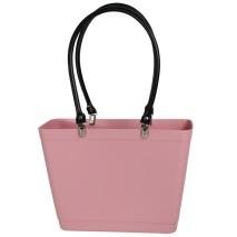 ...Perstorps väska, Sweden Bag med långa läderhandtag (Green Plastic), Liten - Dusty Pink