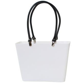 ...Perstorps väska, Sweden Bag med långa läderhandtag, Liten - Vit