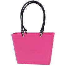 ...Perstorps väska, Sweden Bag med långa läderhandtag (Green Plastic), Liten - Magenta