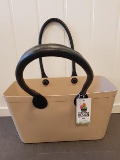 ...Perstorps väska,  Sweden Bag med långa läderhandtag (Green Plastic),Stor - Sand färgad