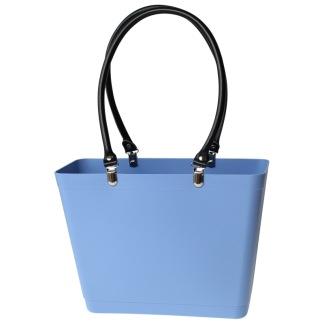 ...Perstorps väska, Sweden Bag med långa läderhandtag (Green Plastic), Liten - Sky Blue/Himmelsblå