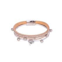 Gemini Armband med 3 remmar, silver och rosé remmar