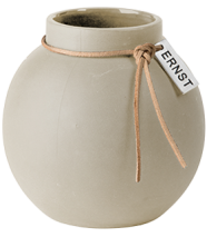 ..ERNST  Rund vas i stengods med läderband, H 10cm (natur)