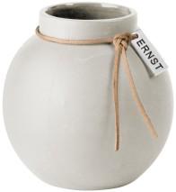 ..ERNST  Rund vas i stengods med läderband, H 14cm (vit)
