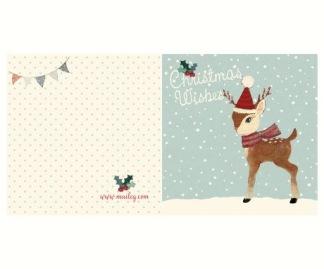 ..Kort - Maileg Julkort, Bambi, dubbelkort